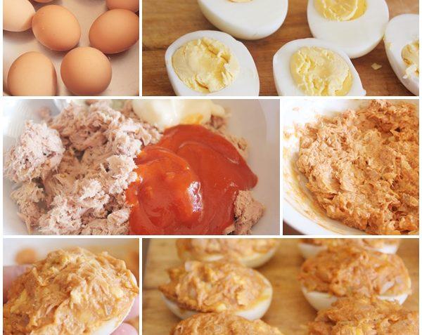 Receta de huevos rellenos Preparacion