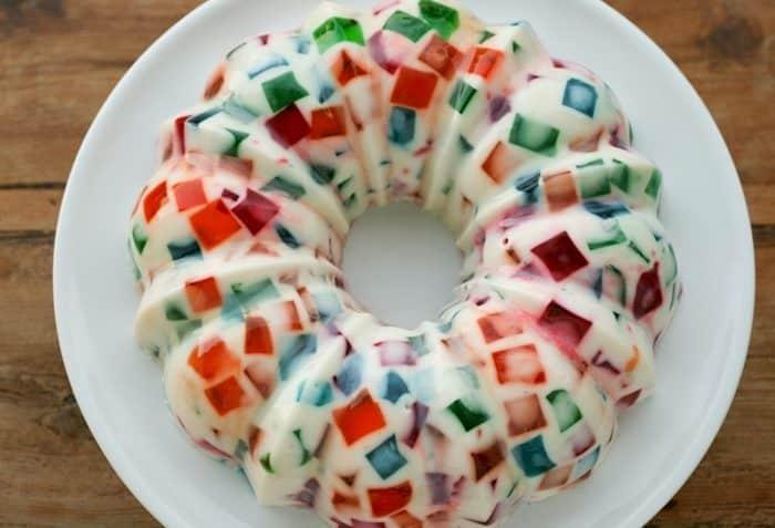 Receta de la gelatina de mosaicoReceta de la gelatina de mosaico