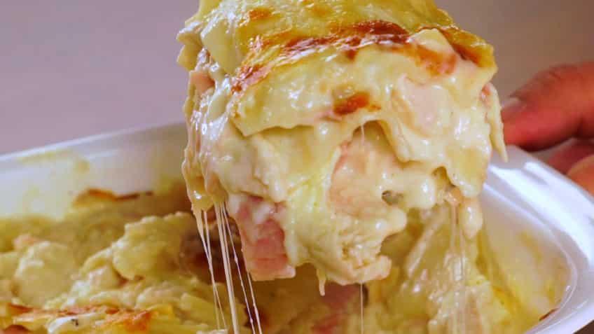 Receta de lasaña completa con pollo con mucho quesoReceta de lasaña completa con pollo con mucho queso