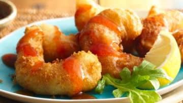 Deliciosos camarones capeados