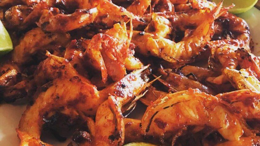 Deliciosos camarones zarandeados