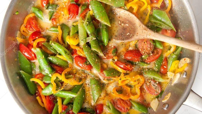 Ricos camarones con verduras
