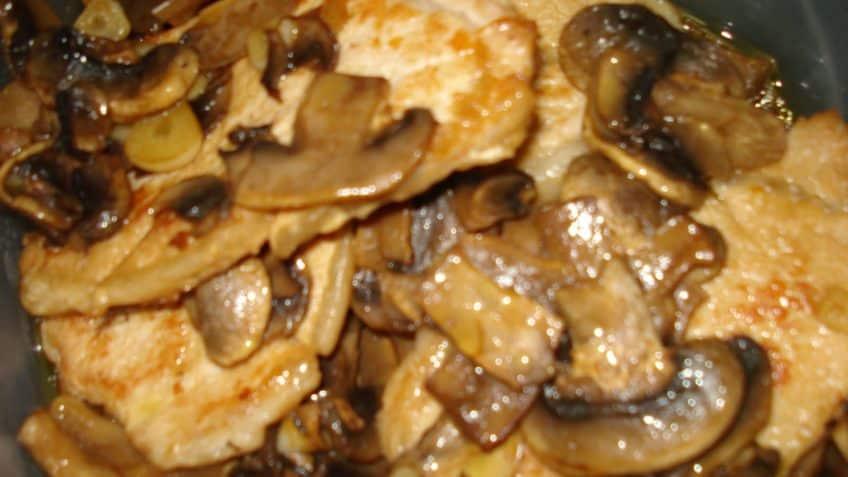 delicioso lomo con champiñones