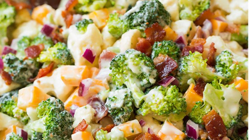 ingredientes de la ensala de brócoli y coliflor