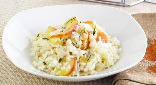 risotto de manzana y nueces