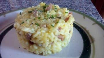 risotto de manzana y tocineta