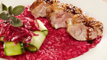 risotto de remolacha y carne